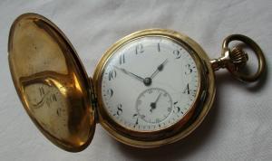 0,585 Goldene Savonette Sprungdeckel Taschenuhr Kronenaufzug um 1900 (108402)