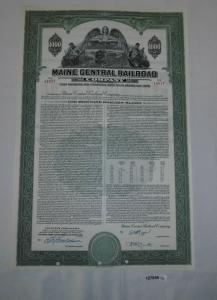 1000 Dollar Aktie Maine Central Railroad Company 1. Februar 1953 (127859)