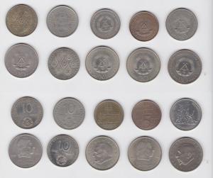 10 DDR Gedenk Münzen 5, 10 und 20 Mark (135480)