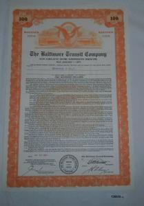 100 Dollar Aktie The Baltimore Transit Company 25. Juli 1957 (126935)