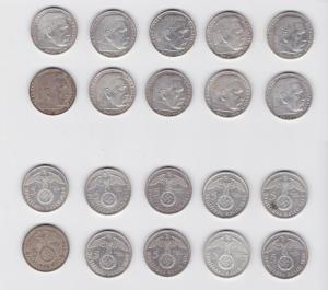 10 Silbermünzen 3.Reich 5 Mark Hindenburg mit HK (135520)