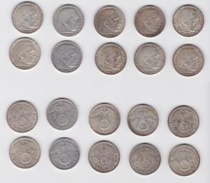 10 Silbermünzen 3.Reich 5 Mark Hindenburg mit HK (135479)