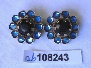 Hübsche Brosche Modeschmuck mit blauen Steinen (108243)