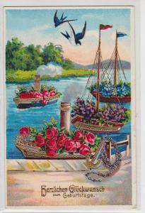69329 Herzlichen Glückwunsch zum Geburtstag Ak geschmückte Schiffe 1925