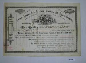 8 Stück Aktie German-American Title Insurance of Philadelphia Nov. 1885 (127644)