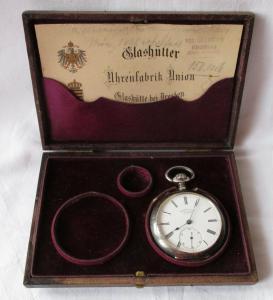 935er Silber Uhrenfabrik-Union Glashütte in Sachsen Garantiekarte Etui (111687)