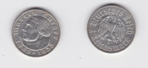 2 Mark Silber Münze Martin Luther 1933 J Jäger 352 (135502)
