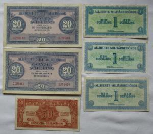 6 seltene Banknoten alliierte Militärbehörde Österreich 1944 (125452)
