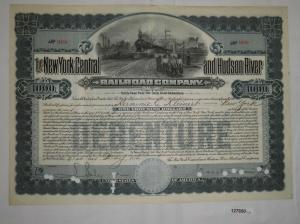 1000 Dollar Aktie The New York Central and Hudson River Railroad 1914 (127650)