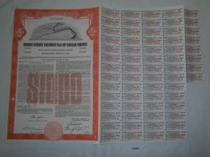 1000 Dollar Aktie Public Utility District No. 1 of Chelan County 1958 (127881)