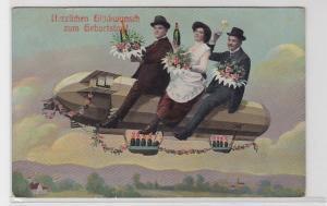 92736 Herzlichen Glückwunsch zum Geburtstag Ak 3 Gäste mit Zeppelin 1913