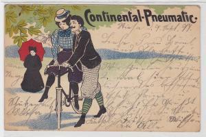 36769 Reklame Ak Continental Pneumatic Paar mit Fahrrad 1899