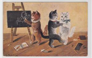 92407 Ak 3 Katzen tanzen und malen im Klassenzimmer 1912