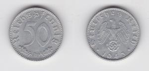 50 Pfennig Aluminium Münze 3.Reich 1943 B, Jäger 318 (134858)