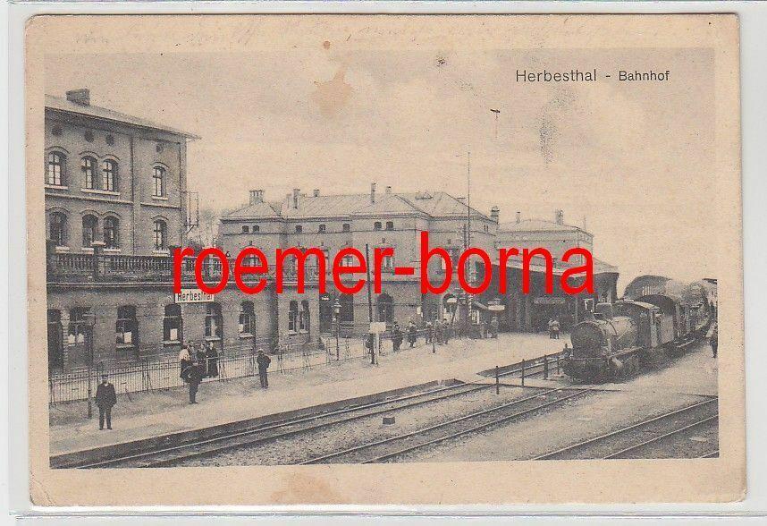 82365 Feldpost Ak Herbesthal Bahnhof mit einfahrender Dampflokomotive 1914 0