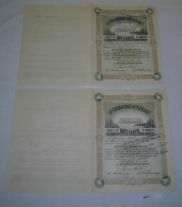 2x 100 Kronor Aktie Lifförsäkrings Aktiebolaget Norrland Sundsvall 1890 (128131)