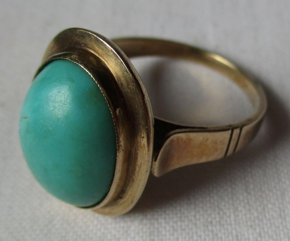 Wunderschöner Damen Ring aus 333er Gold mit großem minzgrünem Stein (125702) 0