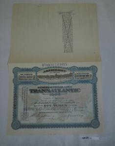 100 Kronor Aktie Rederiaktiebolaget Transatlantic Göteborg 2. Jan. 1919 (128128)