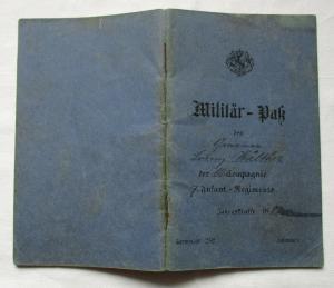 Militärpaß Kgl. Bayer. 7. Infanterie-Regiment Prinz Leopold 10. Komp. (129583)