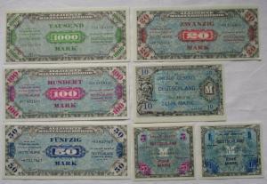 Satz 1 bis 1000 Mark Alliierte Militärbehörde Geldscheine Besatzungszone 1944
