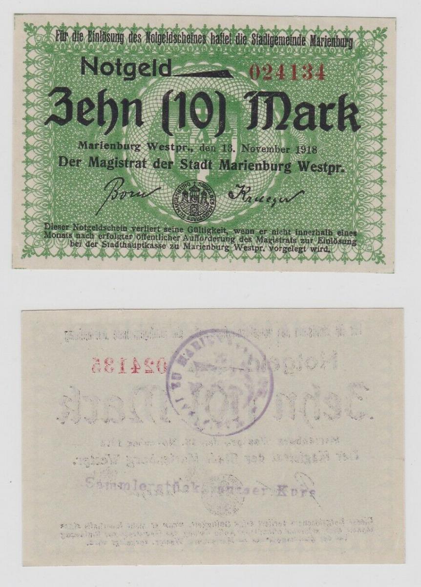 10 Mark Banknote Notgeld Stadt Marienburg Westpreussen 13.November 1918 (129046) 0
