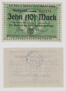 10 Mark Banknote Notgeld Stadt Marienburg Westpreussen 13.November 1918 (129046)