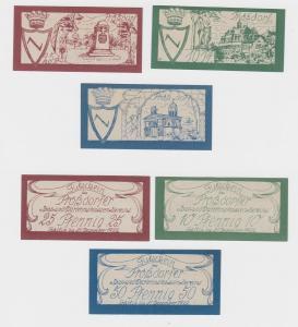 10, 25 & 50 Pfennig Banknoten Notgeld Prößdorfer Spar- & Dar.Verein1922 (120721)