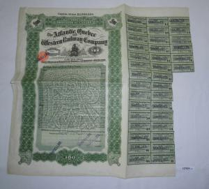 100 Pfund Aktie The Atlantic Quebec and Western Railway Company 1909 (127834)