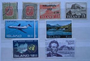 Kleine alte Briefmarken Sammlung Island mit 9 Marken ab 1910 (119550)