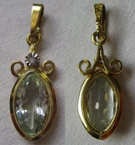 Eleganter 333er Gold Kettenanhänger mit Aquamarin und kleinem Diamant (115672)