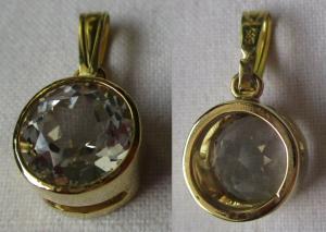 Hochwertiger 585er Gold Kettenanhänger mit weißem Topas (110307)