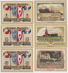 3 Banknoten Notgeld Kirchspiel Aventoft 31.10.1921 (110989)