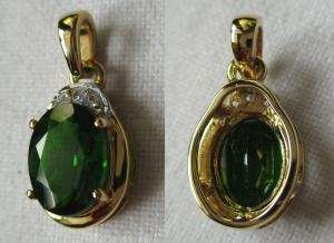 Prachtvoller Gold Kettenanhänger mit Sibirischem Chromdiopsid + Diamant (118709)