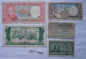 5 Banknoten Laos 2 x 1, 50, 200 und 500 Kip (120973)