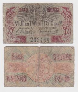 25 Centiemen Banknote Belgien Stad Brugge 1.6.1915 (122171)