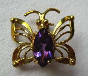 Hochwertige 333er Gold Brosche Schmetterling mit ca. 0,5 ct Amethyst (110078)
