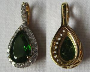 Prachtvoller Gold Kettenanhänger mit Sibirischem Chromdiopsid + Diamant (117432)