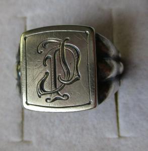 Auffälliger 800er Silber Herrenring Siegelring mit Initialen JP (100154)