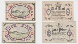 5 & 10 Mark Banknoten Notgeld Stadt Kreis Neurode Graffschaft Glatz 1918(127225)