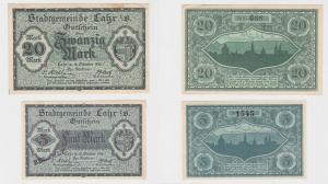 5 & 20 Mark Banknoten Notgeld Stadtgemeinde Lahr i.B. 18.10.1918 (120486)