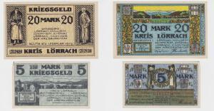5 & 20 Mark Banknoten Kriegs Notgeld Amtsbezirk Lörrach 1.11.1918 (126337)