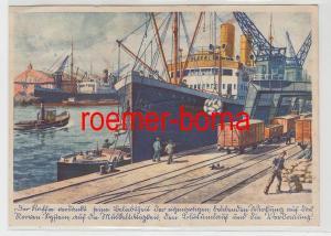 82896 Reklame Ak Eduscho Löschen einer Kaffe-Ladung im Bremer Hafen um 1940