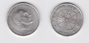 100 Pesetas Silber Münze Spanien 1966 (133440)