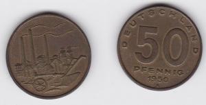 50 Pfennig Messing Münze DDR 1950 Pflug vor Industrielandschaft (124914)