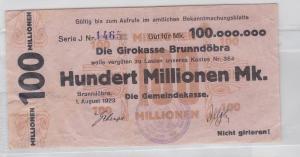 100 Millionen Mark Banknote Girokasse Brunndöbra 1.08.1923 (118812)