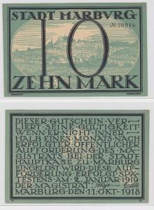 10 Mark Banknote Notgeld Stadt Marburg 11.Oktober 1918 (129675)