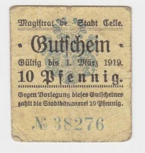 10 Pfennig Banknote Stadt Celle 1.März 1919 (118297)