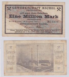 1 Million Mark Banknote Groß-Kayna Gewerkschaft Michel August 1923 (126526)