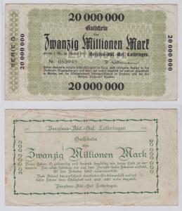 20 Millionen Mark Banknote Gerthe i.W. Bergbau AG Lothringen 20.8.1923 (126544)