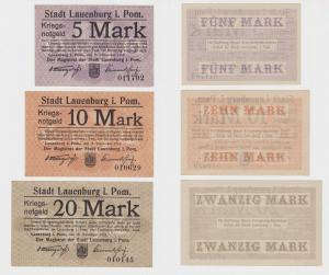 3 Banknoten Kriegs Notgeld Stadt Lauenburg in Pommern 1918 (126934)